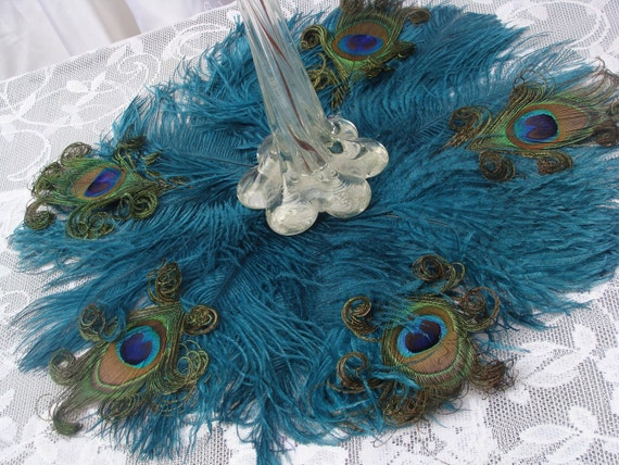 Elegant Peacock Feather Fan in your choice of sizes