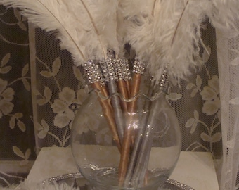 1 Sample Ostrich Feather Pen Favor with Bling