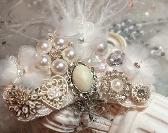 IVORY Ostrich Pearl Crystal Fascinator