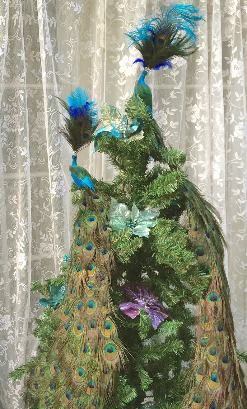 Peacock Christmas tree topper in your choice of lengths with No Extra Jewels or Embellishments 36-72\u201d
