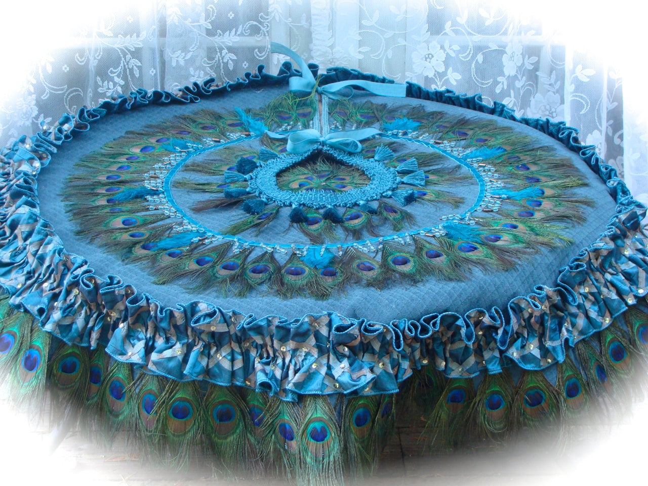 Dual Use Peacock Tablecloth Or Christmas Tree Skirt In