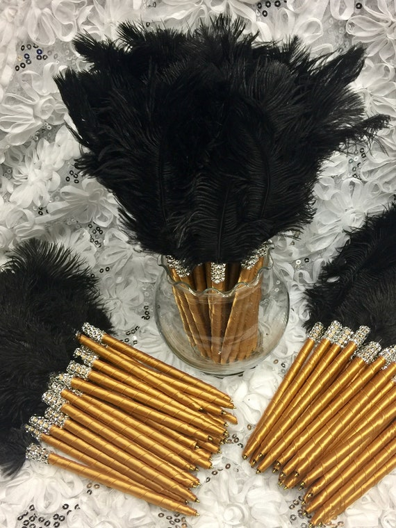 10 Elegant Ostrich Feather Pens in your choice of colors