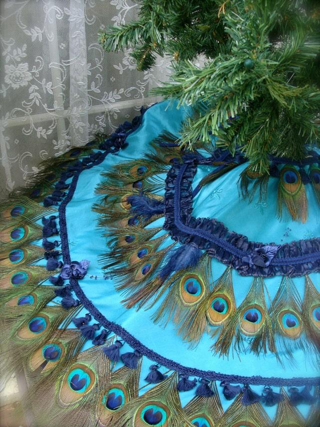 image 0 - Peacock Christmas Tree Skirt