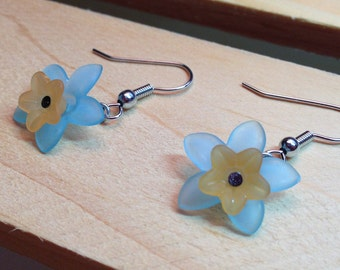 Orange & Blue Flower Earrings