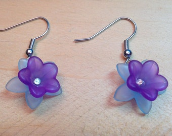 Purple & Blue Flower Earrings