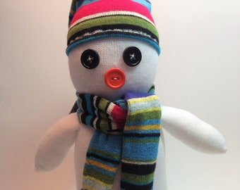 Sock Snowman with striped hat and scarf