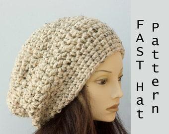 Easy Crochet Pattern Slouchy Beanie Crochet Pattern Instant  d3ef8b58d455