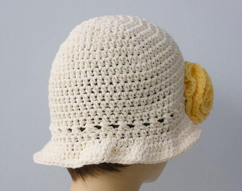 Brimmed Hat Crochet Summer Cotton Sun Hat Flower Hat