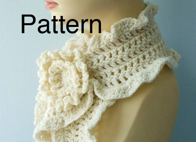 Crochet Scarf Pattern Download Crocheted Flower Scarf Pin Etsy
