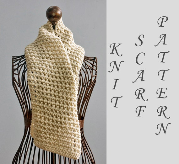 Easy Scarf Knitting Pattern Instant Download Open Work Scarf Etsy