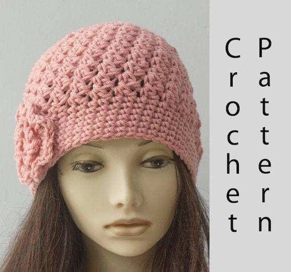Textured Flower Cloche Hat Crochet Pattern Slouchy Beanie Etsy
