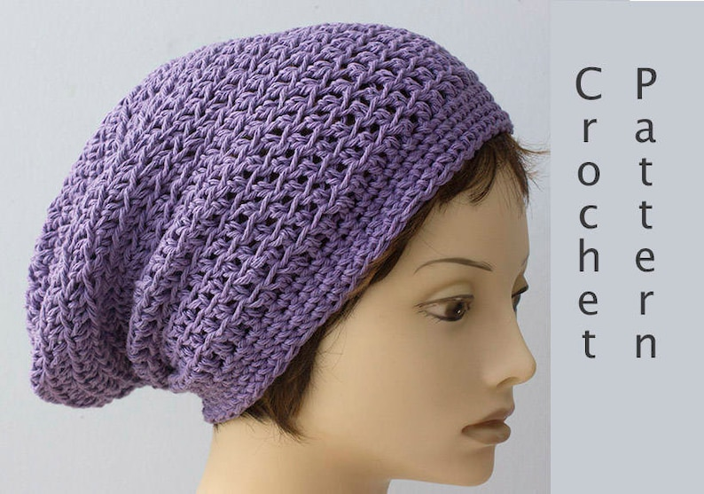 5592d608742 Cotton Slouchy Beanie Crochet Pattern Summer Crochet Hat