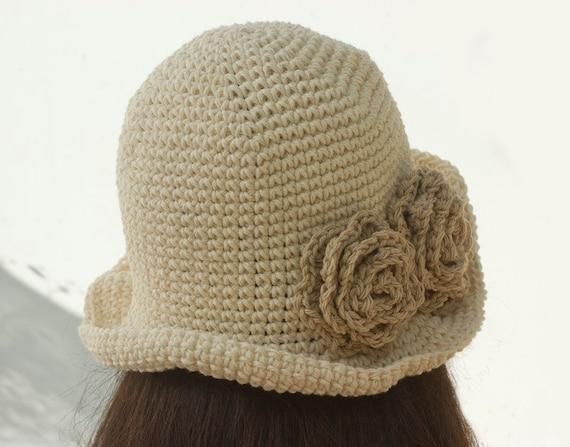 Cotton Flower Sun Hat Cream Brimmed Hat for Women Easter  8a3dc65e5832