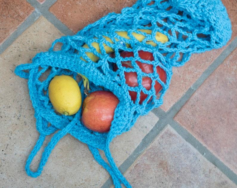 Ready to Ship Net Bag Beach Bag Foldaway Blue Cotton Market Bag Summer Tote Reusable Grocery Tote