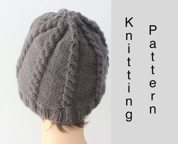 Simple Cable Hat Knitting Pattern Unisex Knit Hat Pattern Etsy