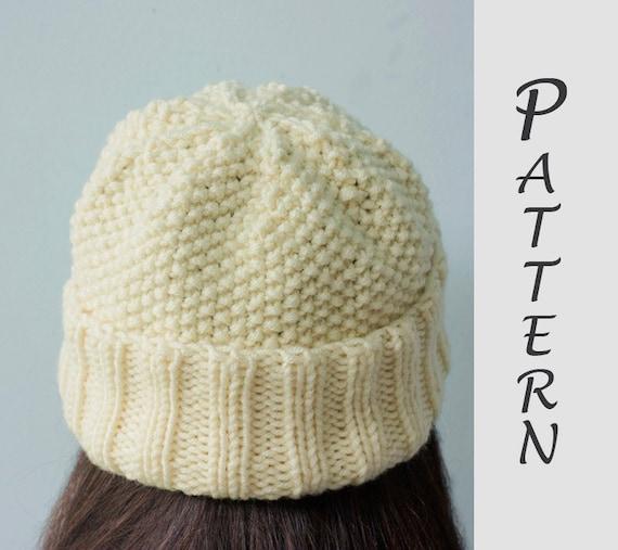 Easy Hat Knitting Pattern Knit Hat Pdf Pattern Winter Hat Etsy