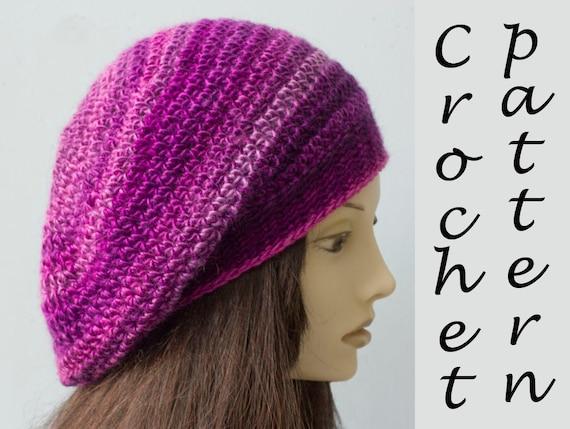 Beret Crochet Pattern Crochet Hat Pattern Instant Download Etsy