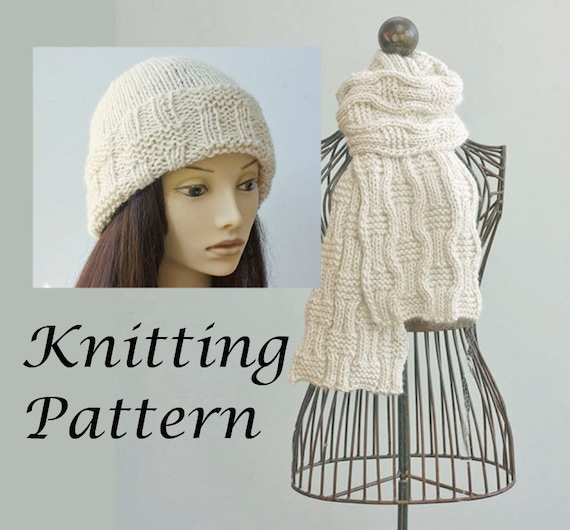 Two Knitting Patterns Knit Hat Pattern Knit Scarf Pattern Etsy
