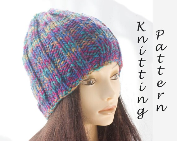 Easy Hat Knitting Pattern Ribbed Knit Hat Pattern Beanie Etsy
