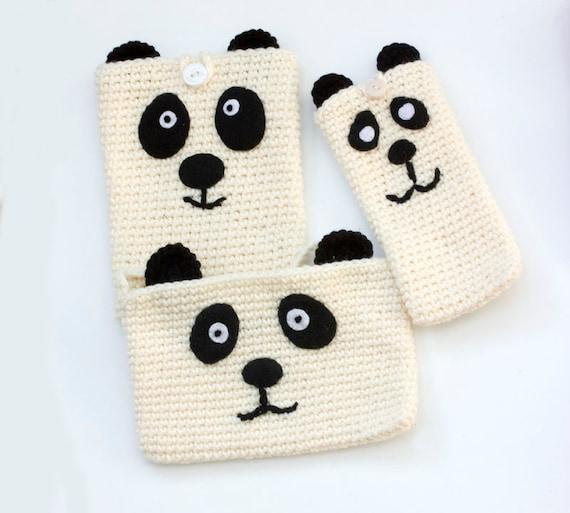 Haak Panda Bear Gift Voor Tiener Telefoon Aanvraag Aanvraag Etsy