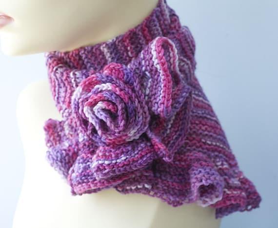 Knit Scarf Pattern Ruffled Scarf Knitting Pattern Flower Etsy
