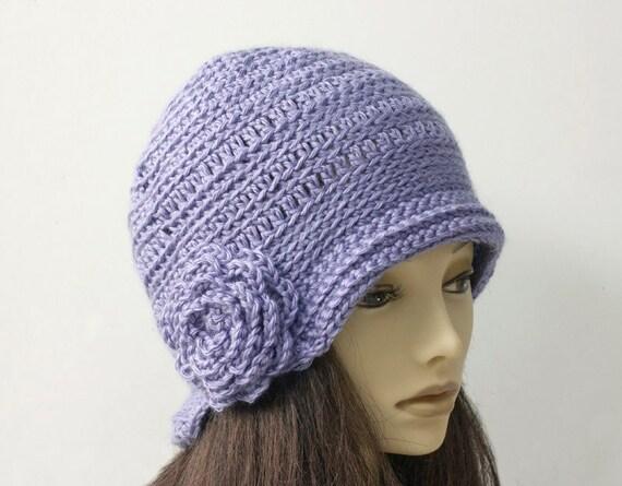 Blaue Cloche Hut Flapper Hut Feder Hut häkeln Blumenhut | Etsy