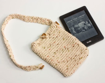 Cotton Kindle Cross Body Bag, E-Reader Sleeve, Crochet Kindle Case, Custom Size and Color