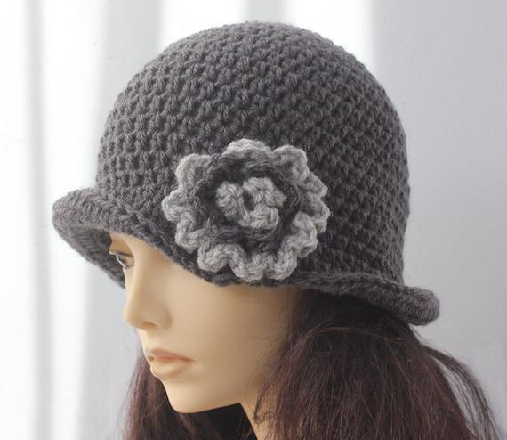 Häkeln Sie graue Damen Hut Blume Cloche Hut Flapper Hut | Etsy