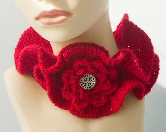Knit Neck Warmer,  Ruffle Scarf,  Red Cowl, Knit Vegan Collar, Buttoned NeckWarmer
