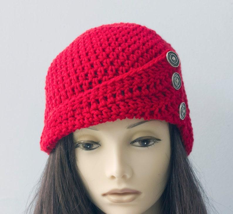 Hand Crocheted Cloche 1920/'s Flapper Hat Button Brim Hat Winter Hat Red Winter Hat