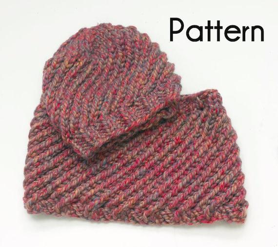 Chunky Hat Cowl Knitting Pattern Easy Swirl Pdf Patterns Two Etsy