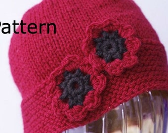 Hat Knitting Pattern, Red Poppy Knit  Hat PDF Pattern, Crocheted Flower, Flower Hat Pattern, Instant Download