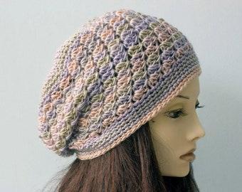 Crochet Slouchy Beanie,  Womens Beret,  Boho Chic Lace Hat,  Multicolor