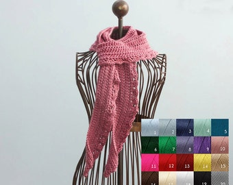 Spring Scarf, Hand Crocheted Scarf, Soft Scarf , Autumn Scarf,  Long  Scarf, Lace Scarf, Custom, Chose Color