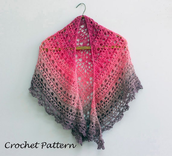 Color Block Lace Shawl Crochet Pattern Bridal Shawl Pdf Etsy