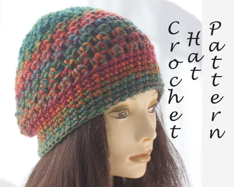 ec60656abde Slouchy Beanie Hat Crochet Pattern Easy Crochet Pattern PDF