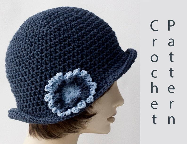 787ec954082 Flapper Sun Hat Crochet Pattern Cotton Summer Flower Cloche