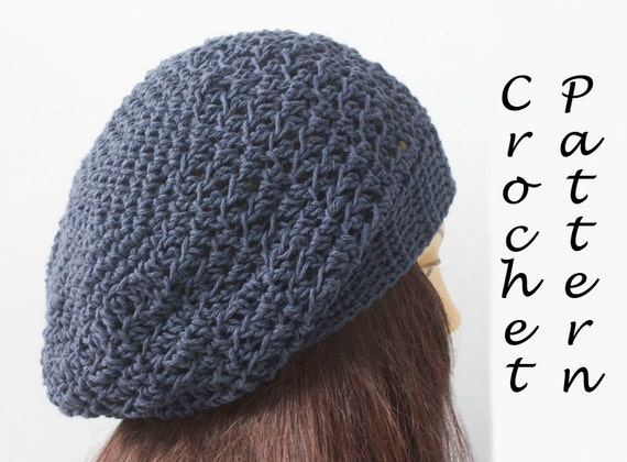 Fast Beret Crochet Pattern Cotton Hat Pattern Chunky Slouchy Etsy
