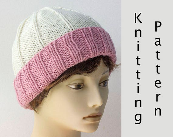 Ribbed Hat Knitting Pattern Knit Beanie Pdf Pattern Instant Etsy