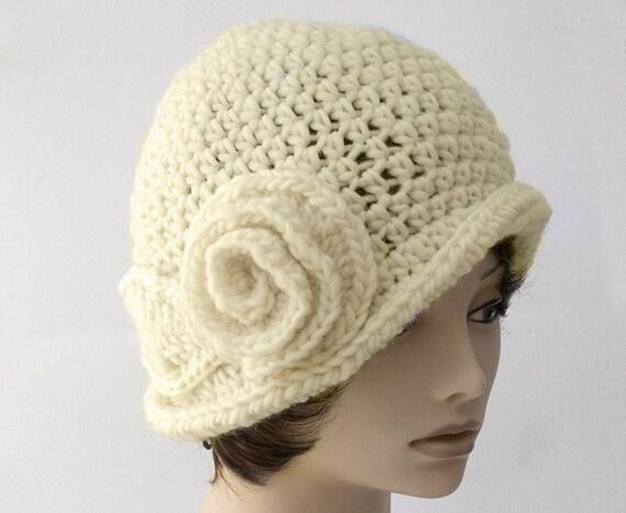 807e1401a68 Crochet Flower Cloche 1920 s Flapper Hat Woman s