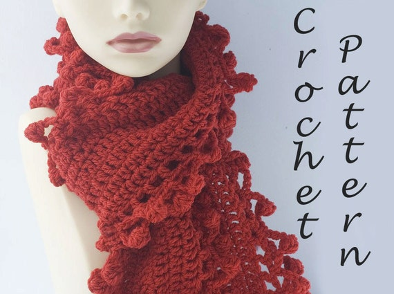 Easy Scarf Crochet Pattern Bobble Scarf Pattern Digital Etsy
