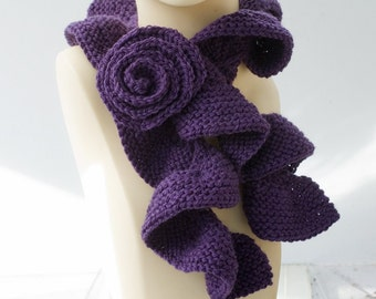 Ruffled Knit Scarf with Rose Scarf Pin, Ultra Violet, Dark Purple Fashion Scarf, Ruffle Scarf, Vegan Scarf
