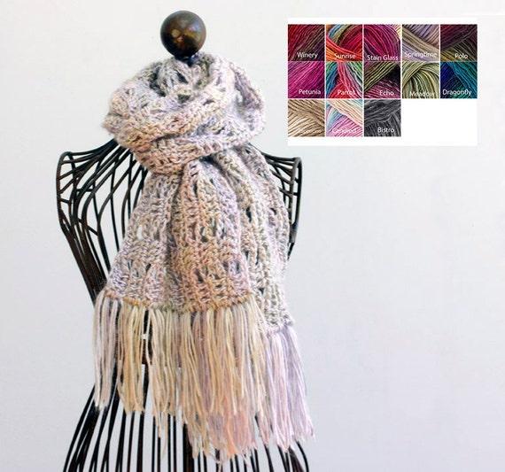 Hand Crochet Scarf Spring Fringed Scarf Custom Chose Etsy