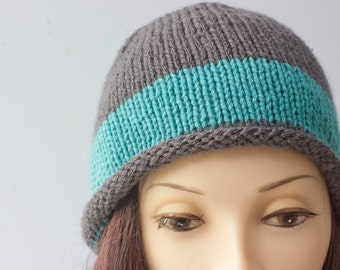 Hand Knit Hat Women's, Roll Brim Cloche, Striped Hat, Slate Gray and Turquoise Color Block