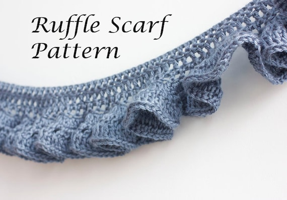 Pdf Crochet Pattern Ruffle Scarf Pattern Digital Download Etsy
