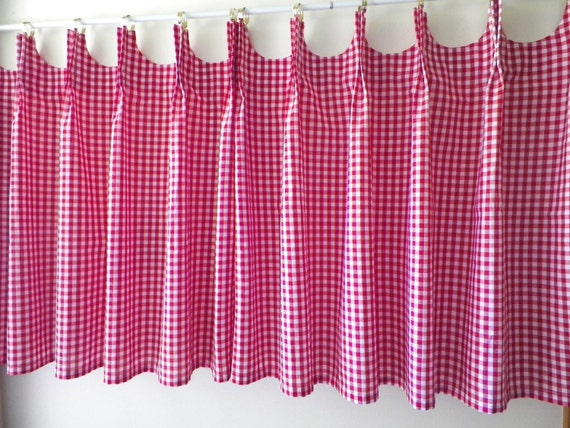 Scalloped Cafe Curtains Red Gingham Etsy
