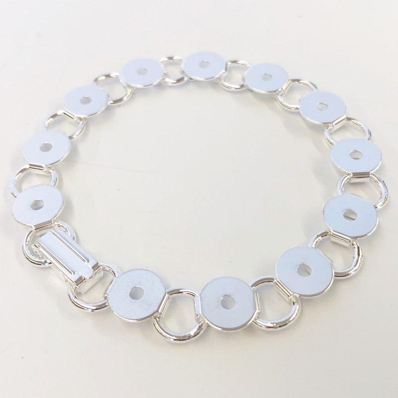 Silver Plated Steel Bracelet Blanks with Round Glue on Pads
