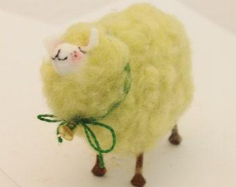 Sheep  White Sheep Prim Needle Felted white Sheep # 4726