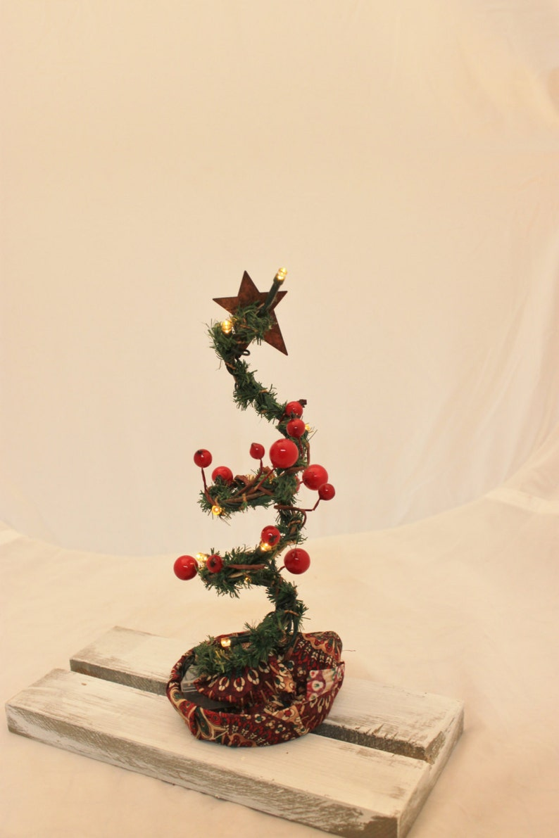 Primitive Lighted Spring Christmas Tree Charlie Brown Tree Etsy
