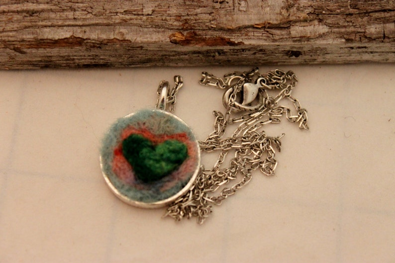 Needle Felted Heart  Necklace Silver Heart Necklace #1685 Felted Heart Necklace,Heartscapes Pendant Necklace